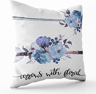 Shorping Decorative Pillow Covers, Zippered Covers Pillowcases 16X16Inch Throw Pillow Covers Watercolor Ethnic Boho Set of Arrows Feathers and Flowers Morning Glory Lilac Rose for Home Sofa Bedding