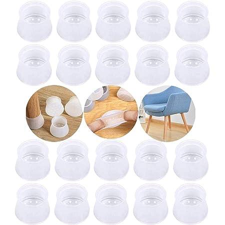 [Paquete de 20 piezas] Alfombrilla de silicona para funda de silla, alfombrilla para silla Silent, funda para pie de mesa Silent, alfombrilla para muebles