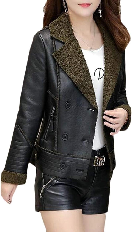 TymhgtCA Womens Faux Fur Leather Slim Fit Casual Lapel Motorcycle Jacket Coat