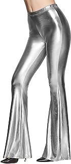Mocure Women' s Metallic Liquid Wet Look Flare Trousers...