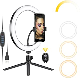 Neewer 10-inch USB LED Ring Light with Tripod Stand, 3 Light Modes/10 Brightness Level for YouTube Tiktok Video Makeup Sel...
