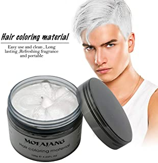 MOFAJANG Unisex Hair Color Dye Wax Styling Cream Mud, Natural Hairstyle Pomade, Temporary Hair Dye Wax for Party, Cosplay & Halloween, 4.23 oz (White)