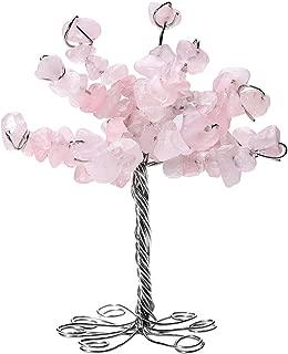 QGEM Rose Quartz Crystal Tumbled Stone Money Tree Gift Holder Office Table Feng Shui Decoration for GOOD LUCK!