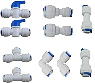 Reverse Osmosis Systems Quick Connect fittings Tube pipe Fittings combo,1/4 inch OD Quick Connect Push In to Connect(Ball Valve+T+I+L+1/4
