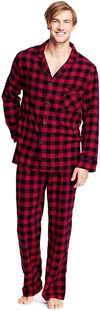 Details about  /Hanes 4039T Tall Man Plaid Flannel Pajama Set