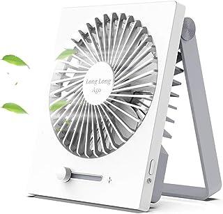 【涼しさを、持ち歩こう】卓上扇風機 USB扇風機 2019年最新改良型 超静音 折り畳み式 Longlongago 携帯扇風機 超薄5枚羽根 無段階風量調節180度角度調整 長時間連続使用 ミニ扇風機 USBファン 可愛い コンパクト 便利 軽量 熱中症対策 ホワイト