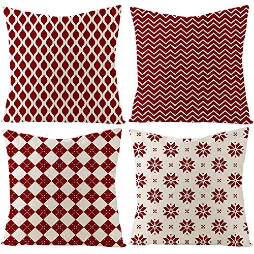 MICOOYO 4er Set Dekorativ Kissenbezug Geometrische Muster,Kissenbezug Kissenhülle Dekorative Dekokissen mit Verstecktem Reißverschluss Sofa Schlafzimmer (45x45cm, Rot)