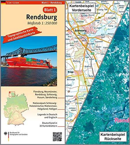 Rendsburg: Umgebungskarte mit Satellitenbild 1:250.000 (TK250 / Topographische und Satellitenbildkarte)
