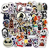Halloween Theme Stickers Laptop Stickers The Nightmare Before Christmas and Tim Burton's Sticker Waterproof Bike Skateboard Luggage Decal Graffiti Patches Decal 50 PCS