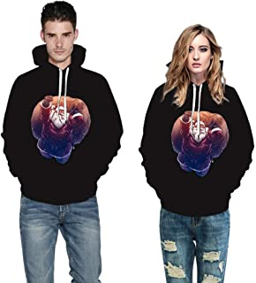 iLOOSKR New Christmas Style Winter Warm Couple's Christmas 3D Printed Long Sleeve Hooded Blouse