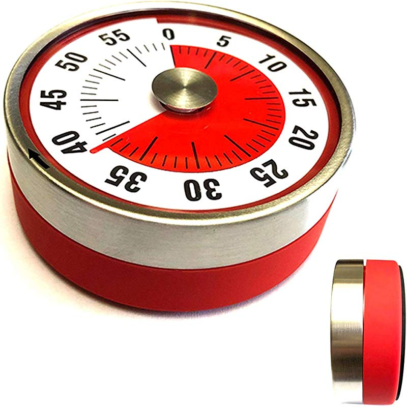 Magnetic Visual Kitchen Timer Manual Rotate Countdown Timer For Food Cooking Loud Ring Visible Time Reading Clock Timers For Kids Teachers Audible Red Dial Analog Magnet Timer For Game Classroom