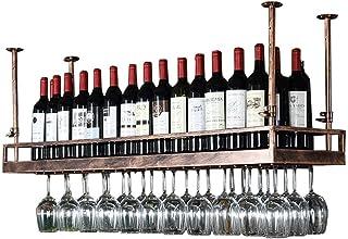 DJSMjbj Support À Vin en Bronze - Plateau De Décoration De Plafond Suspendu en Verre À Vin Suspendu en Fer Style Morden po...