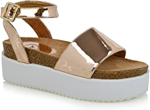ESSEX GLAM Womens Flatform Sandals Chunky Open Toe Ankle Strap Sandals