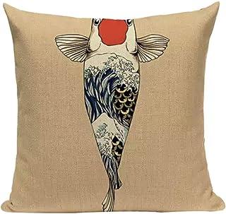 ノーブランド品 Japanese Cool Design Cushion Cover. Square Type. Japanese Art Item for Room Decoration. (Beige Carp)