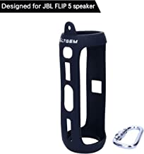 LTGEM Silicone Carrying Travel Case for JBL FLIP 5 Waterproof Portable Bluetooth Speaker with Extra Carabiner - Black