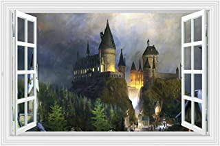 Mendom Sci-Fi Castle William Castle Fake Window 3D Wall Sticker, Removable Fairytale Castle Window Mural Vinyl Wall Decals...