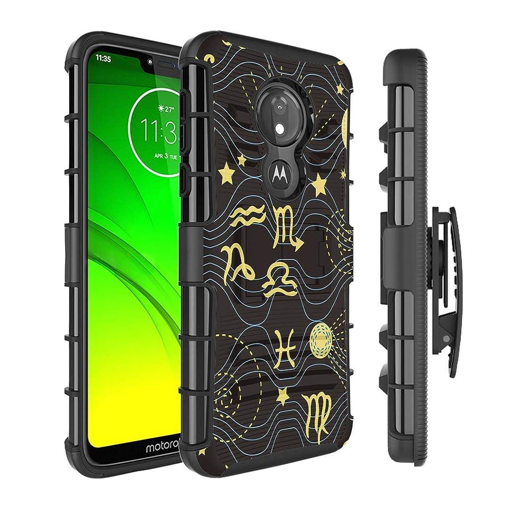 Moriko Case Compatible with Moto G7 Power, Moto G7 Supra [Kickstand Holster Combo Heavy Duty Protection Case Black] for Motorola Moto G7 Power - (Astronomy)