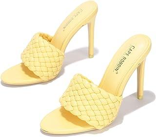 كيب روبين أنسون نسج الكعب العالي للنساء، مربع مفتوح اصبع القدم أحذية الكعب, (أصفر), 38 EU
