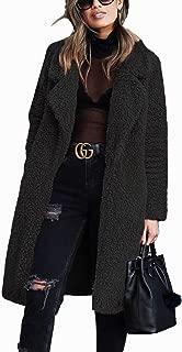 Women's Fuzzy Fleece Lapel Coats Open Front Winter Long Sleeve Faux Fur Cardigan Jackets Outwear with Pockets S-3XL