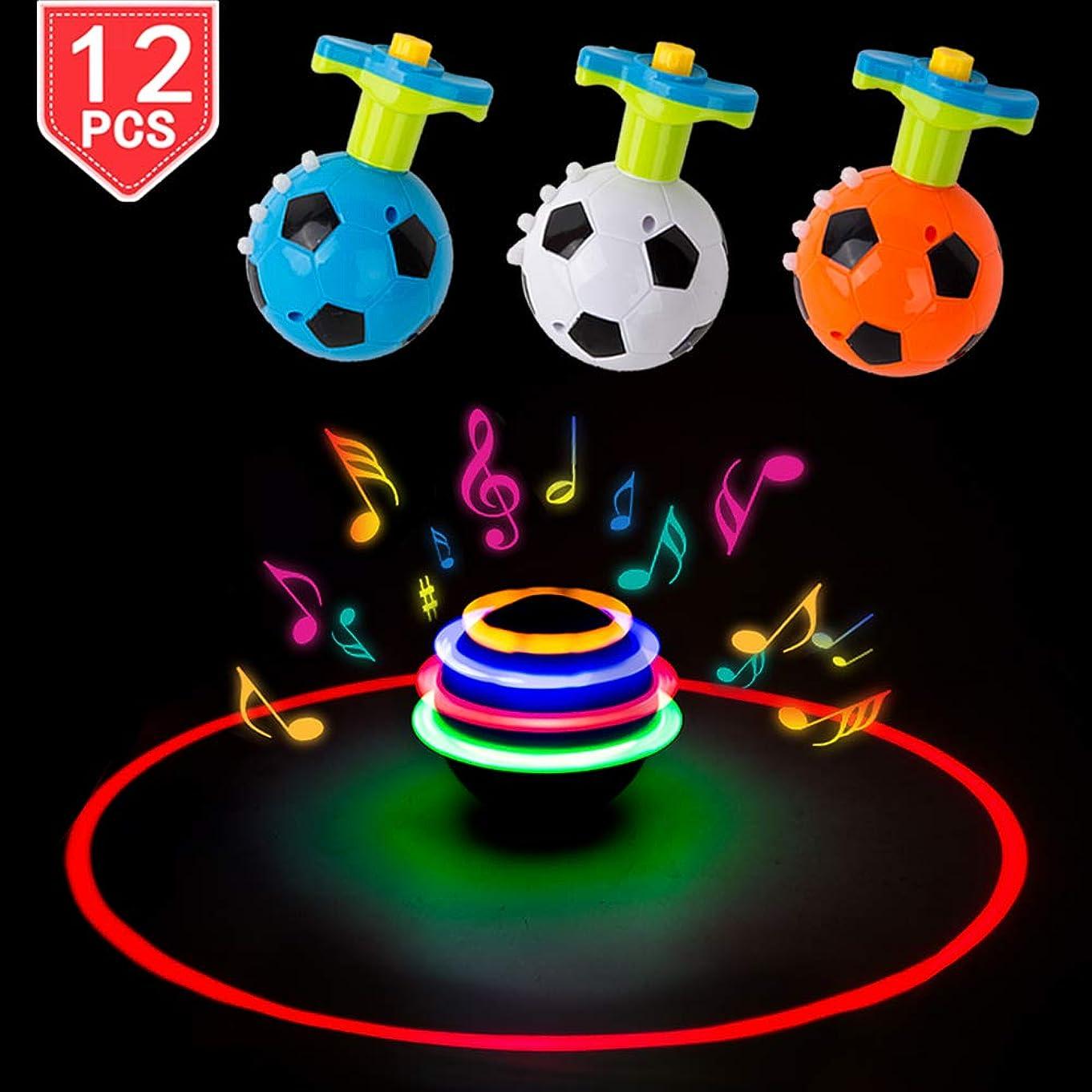 PROLOSO Spinning Top LED Toys Light Up Rotary Desktop Football Gyro 12 Pcs