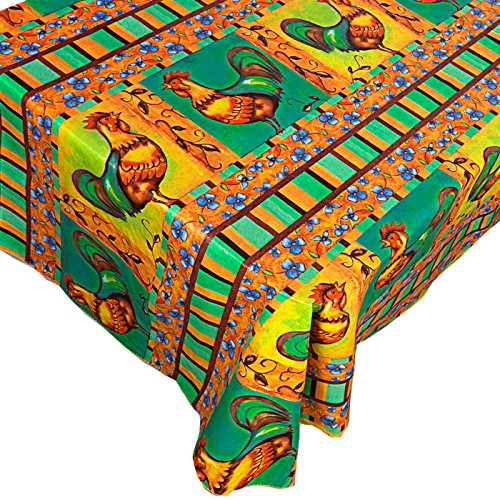 Home Bargains Plus Mod Rooster Vinyl Flannel Backed Tablecloth Contemporary Print Indoor/Outdoor Kitchen, Picnic and Barbeque Vinyl Tablecloth, 70 Inch Round