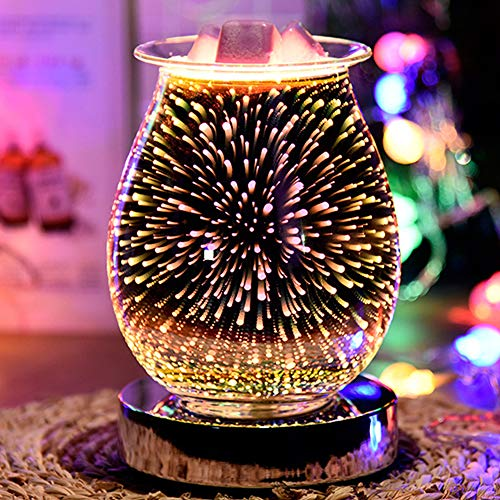 3D Aromatherapy Lamp, Touch Sensitive Aroma Lamp for Wax Melts - Glass Essential Oil Burner - Firework Effect Night Light Decor for Home Office Bedroom Living Room