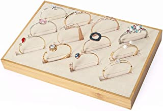 Jewellery Boxes Couple Ring Display Props Jade Bracelet Tray Fine Silver Bracelet Display Counter Display Jewelry Display Jewellery Boxes & Organisers (Color : Beige, Size : 30 * 20cm)