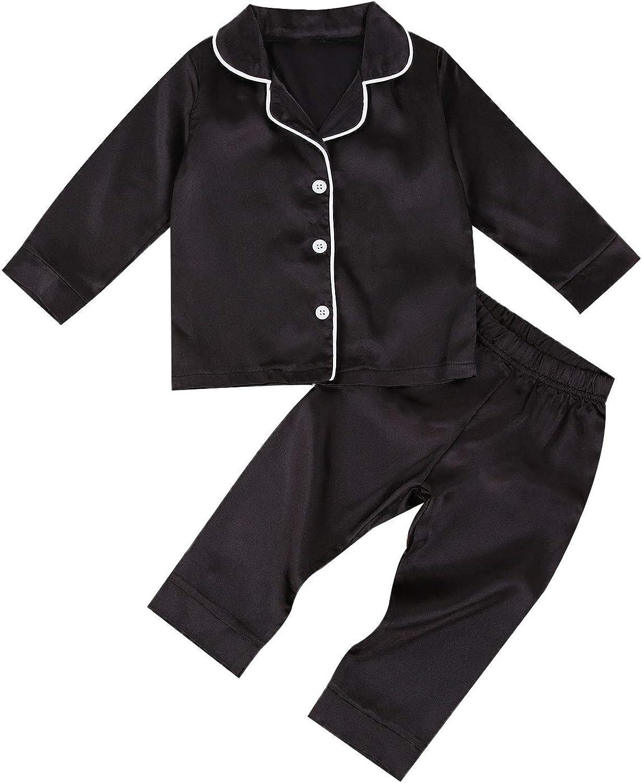 2Pcs Toddler Kids Baby Boys Girls Satin Pajamas Set Short Sleeve Button Down Shirt Top Shorts Pants Summer Sleepwear (A-Long Black, 4-5T)