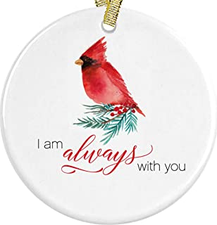 Christmas Red Cardinal I Am Always With You Ornament In Loving Memory Present Idea + Free Gift Box and Red and Gold Metallic Ribbon