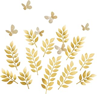 Ling's moment Paper Leaves Butterflies Set, Fake Gold Leaf(18pcs) & Glitter Butterfly(6pcs), Paper Flower Decorations for Crafts Wall Nursery Baby Shower Wedding Birthday Photo Booth Backdrop