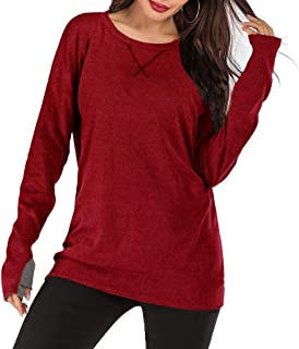 Fankle Women's Long Sleeve Crewneck Tops Solid Loose Casual Sweatshirts Blouses Workout T-Shirts with Thumb Holes