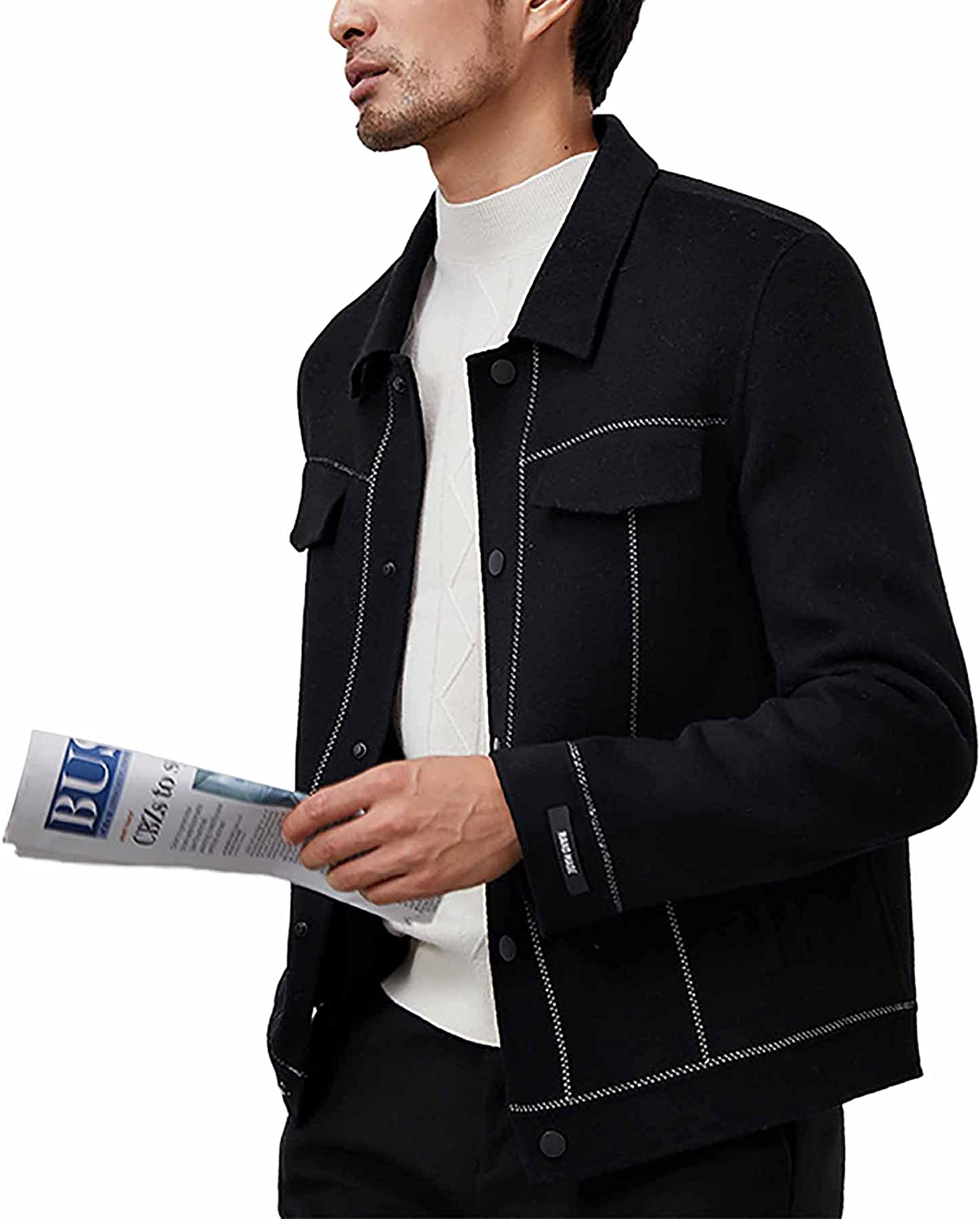 Men's 100% Double Sided Woolen Coats Comfortable Fashion Casual Single Breasted Lapel Short