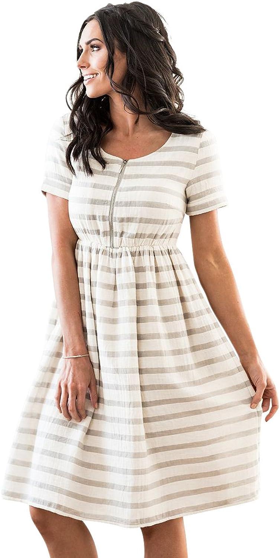 Mikapink Ryan Modest Lined Nursing Dress Grey Cream Stripe