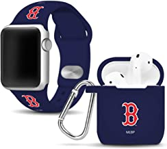 Boston Red Sox Silicone Watch Band and Case Cover Combo Compatible with Apple Watch and AirPod Case(38mm/40mm)