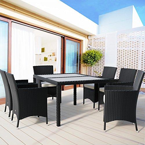 Poly Rattan Sitzgruppe 6+1 mit stapelbaren Stühlen Sitzgarnitur Gartengarnitur Gartenset - 2