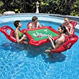 Inflatable seat Mahjong Table Floating Pool on Water, Inflatable Seat Table Floating Pool with 4 floating seats with mesh bottom and a table with drinks holders High Load 90KG Bearing Game Table Chair