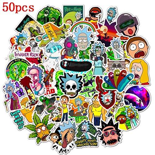 Qingtian Stickers, Sticker 50 Pcs Morty Refrigerator Stickers, Pegatinas de PVC a Prueba de Agua, Pegatinas para Autos, Computadoras, Regalos, Teléfonos, Regalos para niños