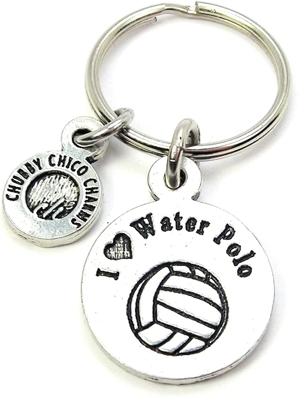 ChubbyChicoCharms I Love Water Polo Pewter Charm On Stainless Steel Keyring Key Ring Key Chain Keychain for Women, Men, Teens, Young Adults, Water Sports, Team Sports