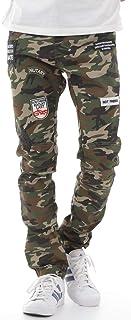 [SunSet Hill] 迷彩 パッチワーク ジーンズ デニムパンツ ウォッシュ スキニー ストレッチ バイクジーンズ 迷彩柄ジーンズ ワッペン メンズ 服 大きいサイズ