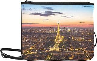 Paris France May Light Up At Eiffel T Pattern Custom High-grade Nylon Slim Clutch Bag Cross-body Bag Shoulder Bag