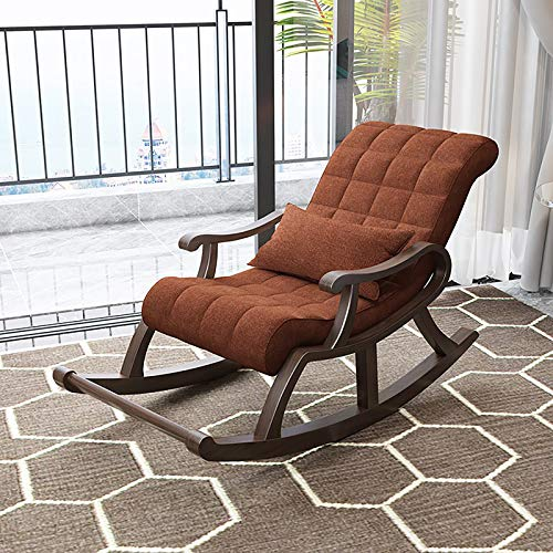 ATTDDP Rocking Chair Living Room Chair Wooden Rocker Rocking Lounge Chair Recliner Comfortable Linen Rocking Chair for Home Furniture Bedroom Living Room,H