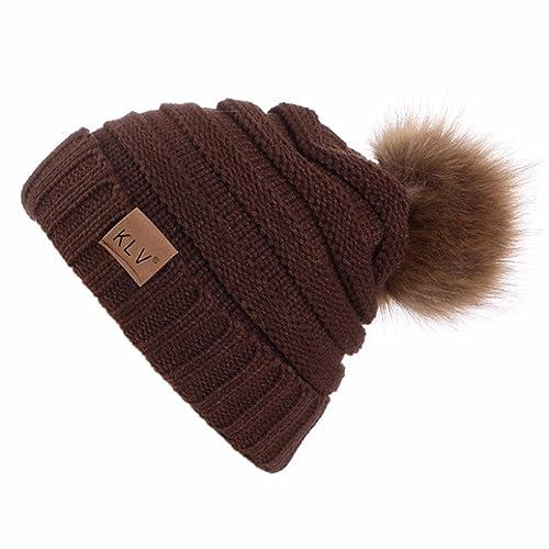 26666bb730b Brand Women s Winter Warm Fur Knit Bobble Pom Pom Beanie Bobble Baggy  Crochet Ski Cap Hat