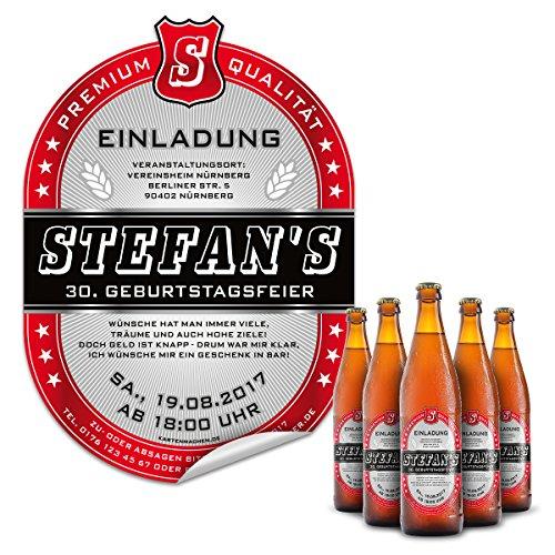 10 x Bier Flaschenetikett Einladung Geburtstag selbstklebend - Markenbier