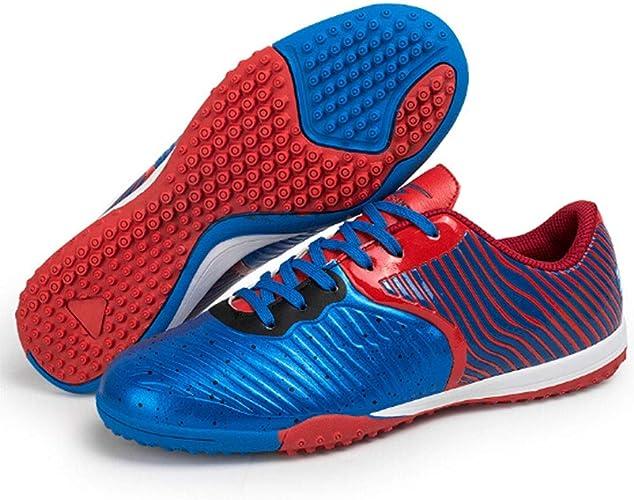 CELINEZL Le Football Brille Chaussures de Football Professionnelles antidérapantes 3D avec entraîneHommest stéréoscopique et entraîneHommest Sportif de Plein air, Taille UE  41 (Bleu)