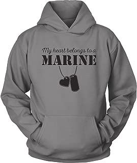 USMC Hoodie - My Heart Belongs to a Marine - USMC Wife - Marine USMC Girlfriend Hoodie - I Love a Marine - Grey