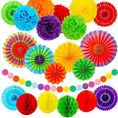 ZJHAI Party Decorations, 23pcs Colorful Paper Fans, Tissue Paper Pom Poms, Honeycomb Balls and Circle Dot Garland for Birthday Party, Wedding Decorations, Fiesta or Mexican Party