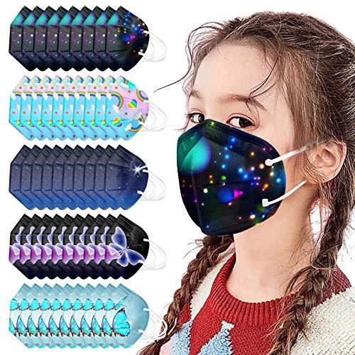 50 Stück Mundschutz Kinder Niedlichen Kinder Einschulung Cartoon 3-lagig Tücher Mund Nasenschutz Bedeckung Multifunktionstuch Halstuch Schals für Jungen und Mädchen (5-lagig#2)
