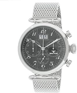 Spectrum Men's Silver Case Black Dial Multi Function Dress Watch