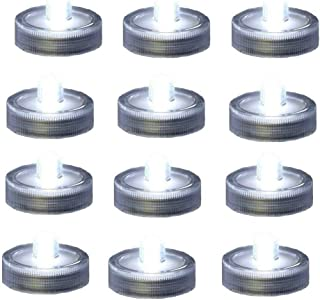 Bright LED Battery Operated Flameless Tea Light, Submersible Tea Candle Waterproof Decorations Underwater Vase Light for Party and Wedding, Pack of 12, Clear White