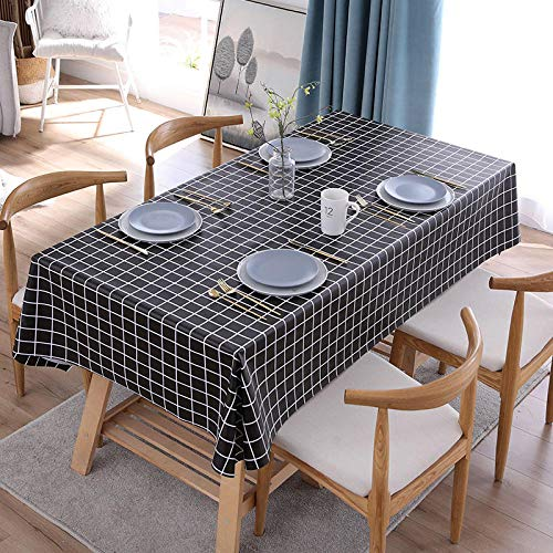 Kuingbhn Mantele Resistente Al Agua Lavable Colores PVC Simple para Cocinas Exteriores o Interiores Mantel Mesa Rectangular Negro B 120×120cm